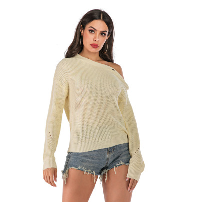 One-word Neck Knitted Solid Color Diagonal Shoulder Long-sleeved Sweater Wholesale Women's Clothing Nihaostyles NSYYF67927