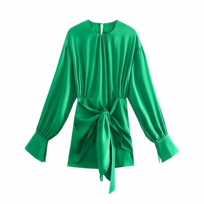 Summer Green Shirt-style Long-sleeved Dress Nihaostyle Clothing Wholesale NSAM67930