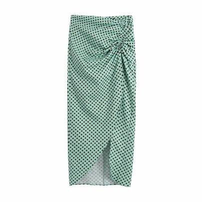 Summer Linen Wave Dot Midi Skirt Nihaostyle Clothing Wholesale NSAM67935