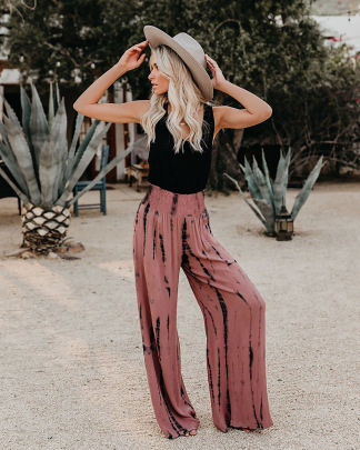 Tie-dye Printing Summer Casual Loose Elastic Pants Nihaostyle Clothing Wholesale NSMDF67955