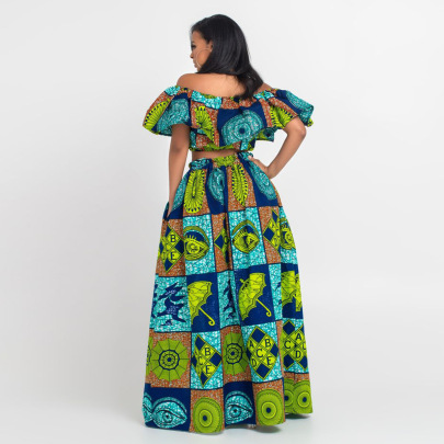New Style Ethnic Style Print High Waist Slit Skirt Nihaostyle Clothing Wholesale NSMDF67966