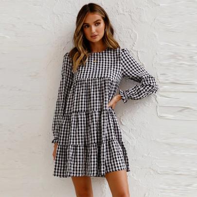 Plaid Print Round Neck Long Sleeve Short Dress Wholesale Women's Clothing Nihaostyles NSXMI67972