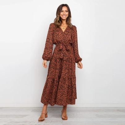 Polka-dot Long-sleeved V-neck Big Swing Dress Wholesale Women's Clothing Nihaostyles NSXMI67970