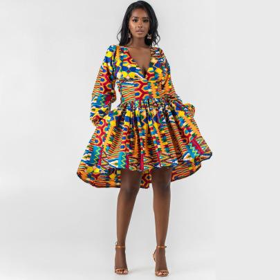 Printing Women's Long-sleeved V-neck Dress Nihaostyle Clothing Wholesale NSMDF67637