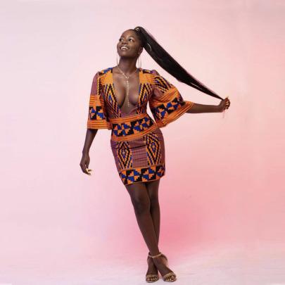 Women's Deep V-neck Flared Mid-sleeve Hip Skirt Nihaostyle Clothing Wholesale NSMDF67634