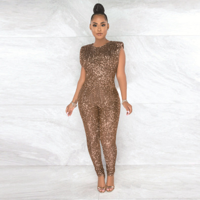Sequin Sexy Sleeveless Jumpsuit Wholesale Women's Clothing Nihaostyles NSCYF67980