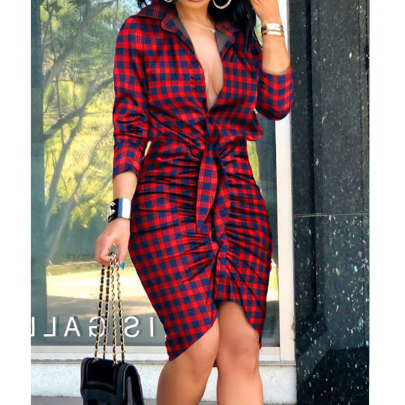 Summer New Style V-neck Tie Printing Long-sleeved Shirt Dress Nihaostyle Clothing Wholesale NSJIM67993