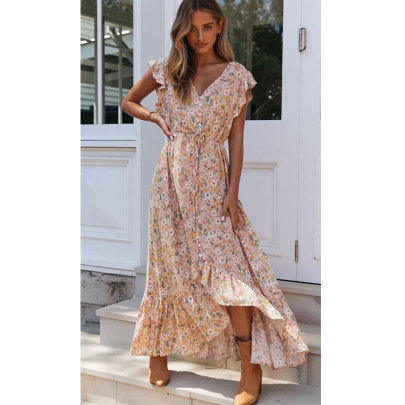 Summer New Waist Floral Dress Nihaostyle Clothing Wholesale NSJIM67992