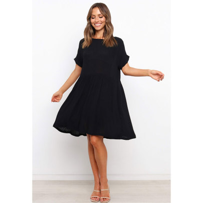 Summer New Round Neck Short Sleeve Loose Solid Color Dress Nihaostyle Clothing Wholesale NSJIM67990