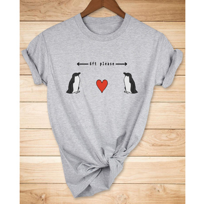 Love Penguin Print Casual Short Sleeve T-shirt Nihaostyle Clothing Wholesale NSYAY68001
