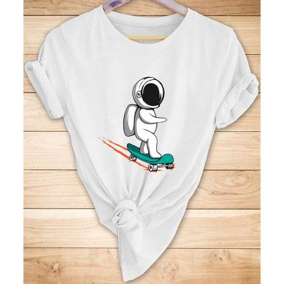 Creative Astronaut Printed Casual Short-sleeved T-shirt Nihaostyle Clothing Wholesale NSYAY67998