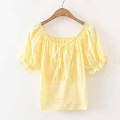 Summer Square Collar Sleeve Short Blouse Nihaostyle Clothing Wholesale NSYID68009
