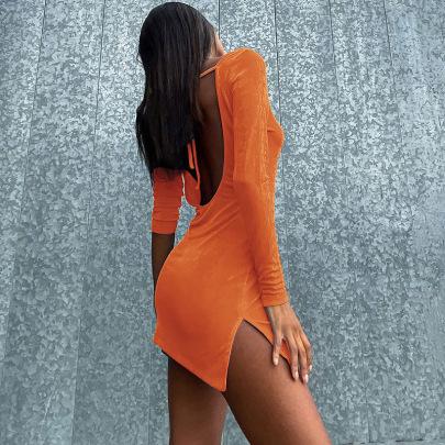 Women's Autumn New Long-sleeved Strap Dress Nihaostyle Clothing Wholesale NSYLF68016