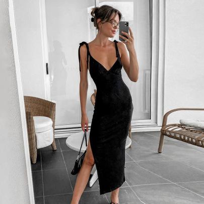 Split Basic Short-sleeved Dress Nihaostyle Clothing Wholesale NSYLF68018