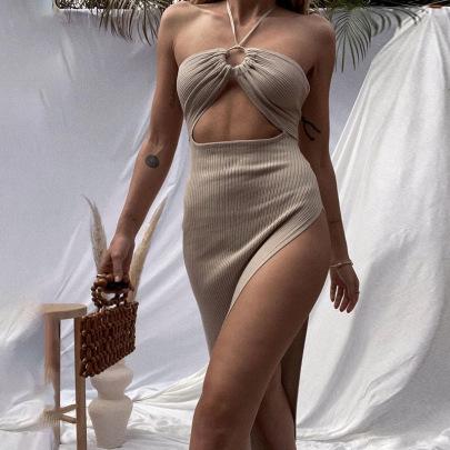 Summer New Women's Halter Neck Sexy Holiday Dress Nihaostyle Clothing Wholesale NSYLF68020