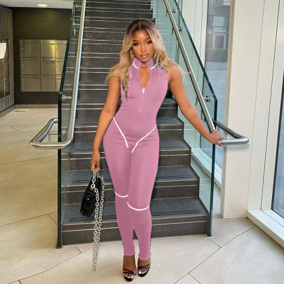 Sexy Zipper Sleeveless Solid Color Jumpsuit Nihaostyle Clothing Wholesale NSMNS68023