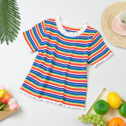 Short-sleeved Knitted Striped Blouse Nihaostyle Clothing Wholesale NSYIC68024