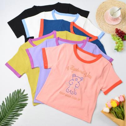 Printed Round Neck Short-sleeved T-shirt Nihaostyle Clothing Wholesale NSYIC68025
