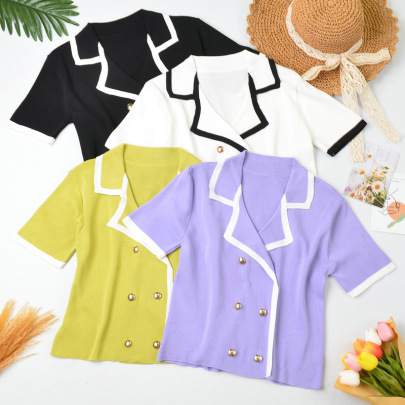 Summer New Double-breasted Color Matching Sweater Nihaostyle Clothing Wholesale NSYIC68026