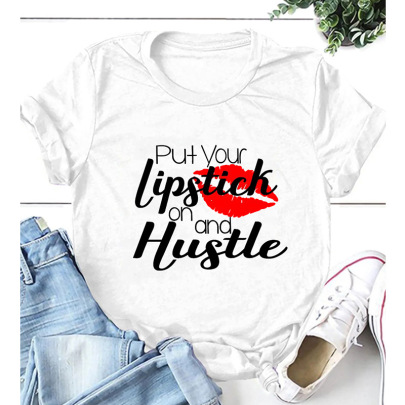 Letter Printing Casual Short-sleeved T-shirt Nihaostyle Clothing Wholesale NSYIC68031