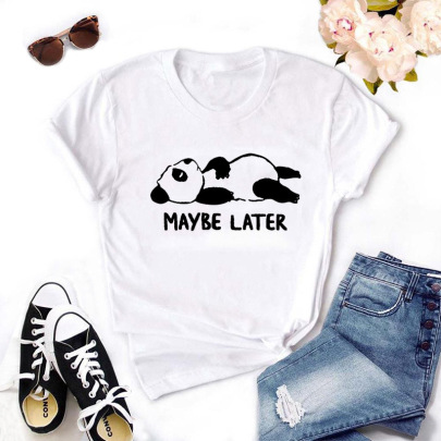 Short-sleeved Panda Print T-shirt Nihaostyle Clothing Wholesale NSYIC68033