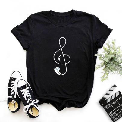 Printing Female Round Neck T-shirt Nihaostyle Clothing Wholesale NSYIC68035