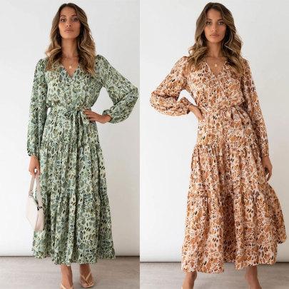 New Style Printed Waist Dress Nihaostyle Clothing Wholesale NSJC68081