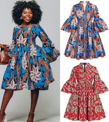 Seven-point Lotus Leaf Sleeve Small V-neck Dress Wholesale Women's Clothing Nihaostyles NSMDF67686