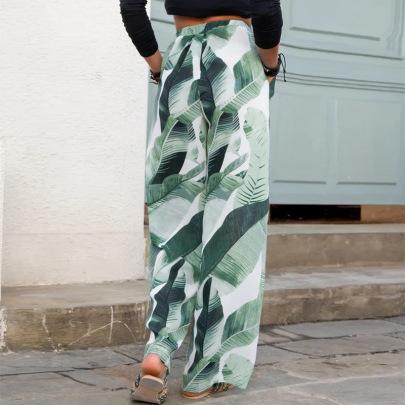Green Leaf Printing Loose Wide-leg Pants Casual Pants Wholesale Clothing Vendor Nihaostyles NSLZ68119