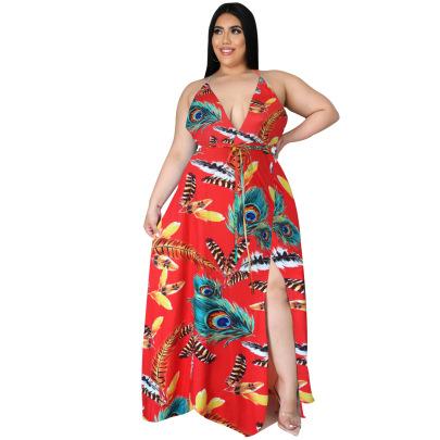 Halter Split Gradient Floral Long Skirt Nihaostyle Clothing Wholesale NSBMF68160