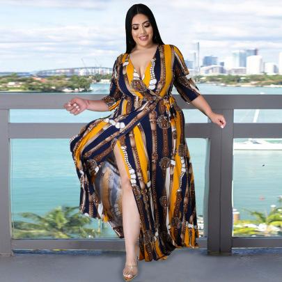 V-neck Mid-sleeve Split Dress Nihaostyle Clothing Wholesale NSBMF68164