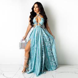 Irregular Split Sexy Halter Long Skirt Dress Nihaostyle Clothing Wholesale NSCYF68170