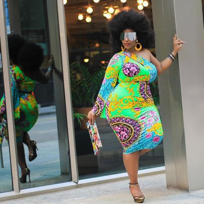 One-shoulder Long-sleeved Retro Printing Fashion Dress Wholesale Clothing Vendor Nihaostyles NSCYF68194