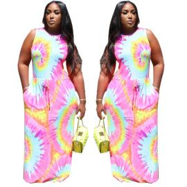 Digital Color Printing Lace-up Sleeveless Dress Wholesale Clothing Vendor Nihaostyles NSMFF68233