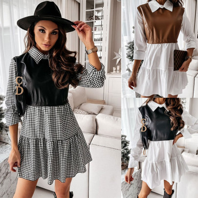 Fall New Shirt Collar Color Matching Dress Wholesale Clothing Vendor Nihaostyles NSSUO68719