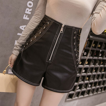 PU Leather High Waist Shorts Wholesale Clothing Vendor Nihaostyles NSSUO68720