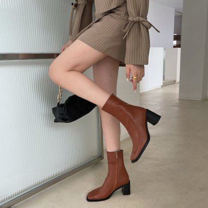 Nihaostyle Clothing Wholesale Autumn And Winter New Fashion Thick-heeled Short Boots NSHU65513