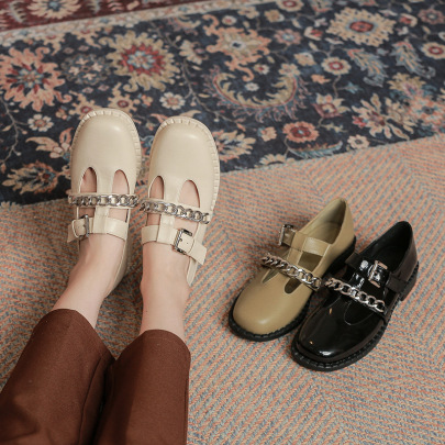 Nihaostyle Clothing Wholesale New Autumn Fashion Low Heel Thick Heel Metal Chain Shoes NSHU65529