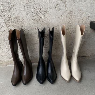 Nihaostyle Clothing Wholesale Autumn And Winter Pointed Toe Thick Heel High-top Boots NSHU65550