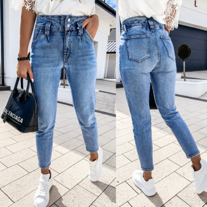 Wholesale Women's Clothing Nihaostyles Overalls Solid Color Washed Jeans NSHM65588
