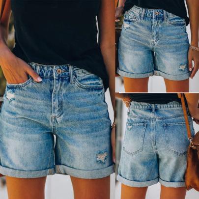 Wholesale Women's Clothing Nihaostyles Ripped Hole Washed Denim Shorts NSHM65590