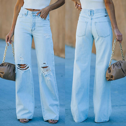 Wholesale Women's Clothing Nihaostyles Casual Trousers Mid-waist Jeans NSHM65594