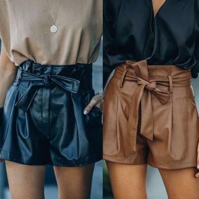 Wholesale Women's Clothing Nihaostyles Casual PU Leather Shorts NSHM65598