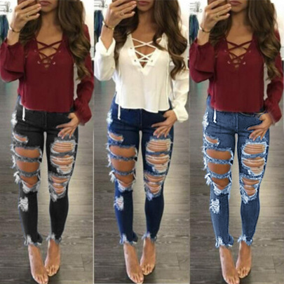 Nihaostyle Clothing Wholesale Ripped Women's Jeans NSWL65607
