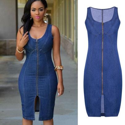 Nihaostyle Clothing Wholesale Slim Zipper Denim Mini Dress NSWL65608