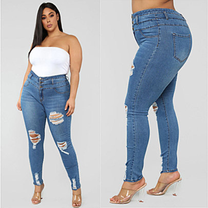 Nihaostyle Clothing Wholesale High Waist Ripped Large Size Jeans NSWL65617