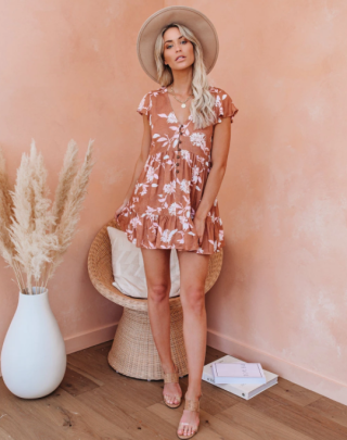 Nihaostyle Clothing Wholesale V-neck Short-sleeved Printed High-waist Dress NSOUY65684