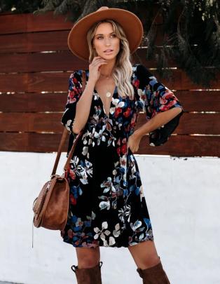 Nihaostyle Clothing Wholesale Summer New Style V-neck Printed Dress NSOUY65683