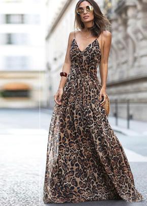 Nihaostyle Clothing Wholesale Leopard Print V-neck Dresses NSOUY65688