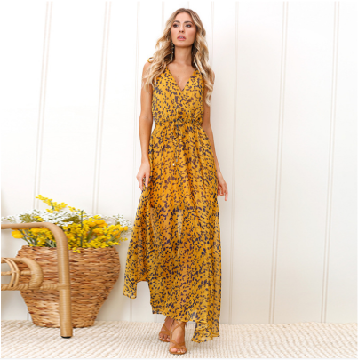 Nihaostyle Clothing Wholesale Spring Sexy Sling Deep V-neck Leopard Print Long Skirt NSOUY65692
